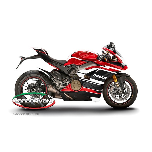 "Carbonvani - Ducati Panigale V4 / S / Speciale ""AGGRESSIVA Ver 2"" Design Carbon Fiber Full Fairing Kit - ROAD VERSION (8 pieces)"