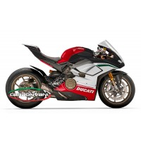 "Carbonvani - Ducati Panigale V4 ""WHITE"" Design Carbon Fiber Full Fairing Kit - ROAD VERSION (8 pieces)"