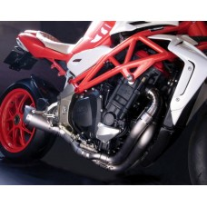 "Motocorse ""SNAKE WELD"" Titanium Full exhaust ""Evoluzione"" 45 mm ""Type-G"" mono basso 110mm For MV Agusta Brutale 4 Cylinder Models (B4)"