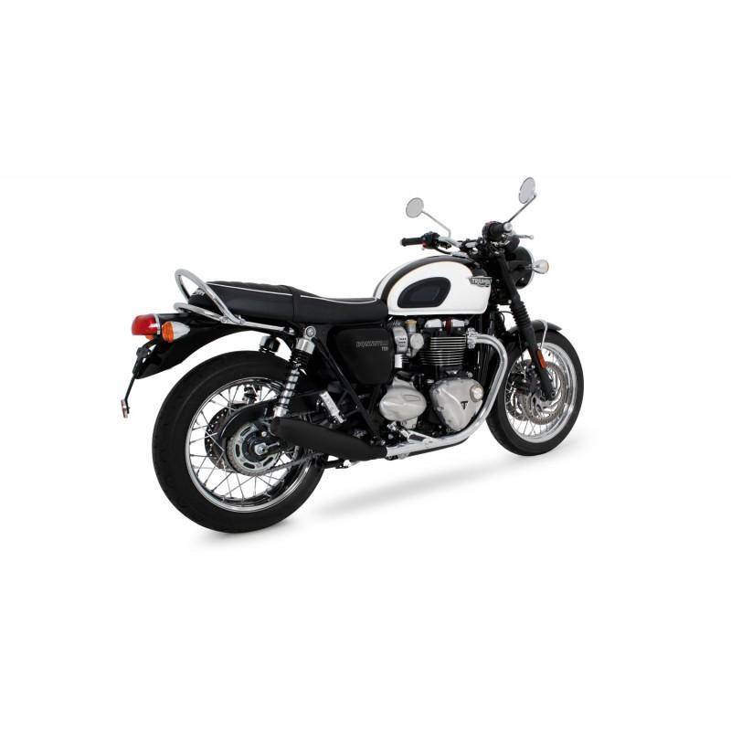 Remus Custom Tapered Slip On Exhaust Stainless Steel Black Triumph Bon