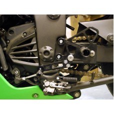 WOODCRAFT Kawasaki EX250 (08-12) Black Eccentric Complete Rearset w/shift and Brake Pedals
