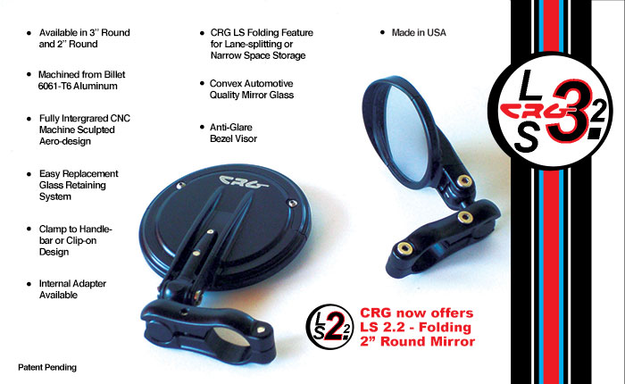 CRG LS3.2 3 inch and LS2.2 2 inch Round Folding Mirror Bar End mirrors