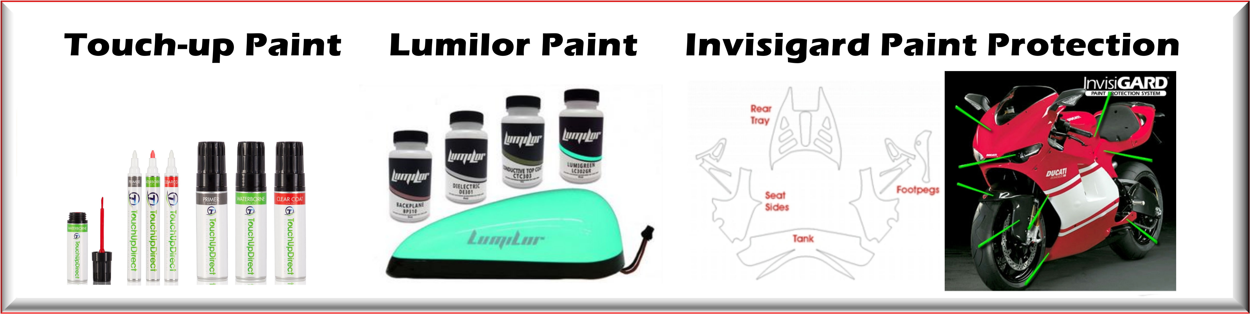 Touch Up Paint, Lumilor Paint, & Invisigard Paint Protection